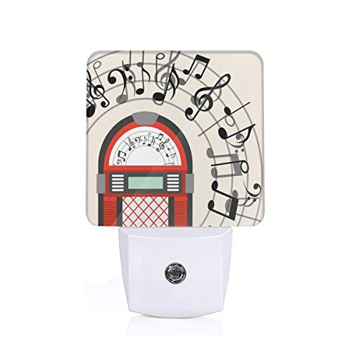 Xuforget Jukebox Cartoon Antique Old Vintage Radio Music Box Party Energy Efficient LED Night Light with Auto Dusk to Dawn Sensor for Any Dark Room