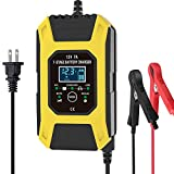 Luoges Car Battery Charger/Maintainer 12V / 7A | New Upgrade 7-Stage Automatic Pulse Repair Battery Charger for ATVs/Golf Cart/Motorcycle/Car/Yacht Mower and More (Yellow)