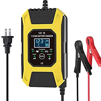 Luoges Car Battery Charger/Maintainer 12V / 7A | New Upgrade 7-Stage Automatic Pulse Repair Battery Charger for ATVs/Golf Cart/Motorcycle/Car/Yacht Mower and More  Yellow