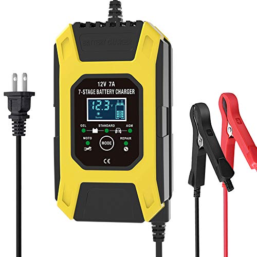 Luoges Car Battery Charger/Maintainer 12V / 7A   New Upgrade 7-Stage Automatic Pulse Repair Battery Charger for ATVs/Golf Cart/Motorcycle/Car/Yacht Mower and More (Yellow)
