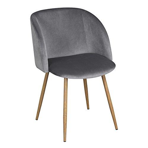 EGGREE 1er Set Vintager Retro Stuhl Polstersessel Samt Lounge Sessel Clubsessel Fernsehsessel (grau)