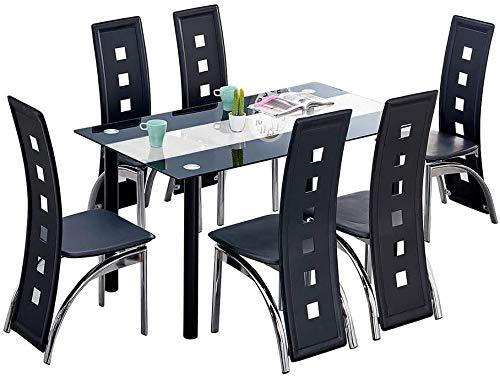 Mesa de cocina y sillas de comedor de respaldo alto cómodas sillas de cuero PU mesas rectangulares de vidrio,Black-6 chairs
