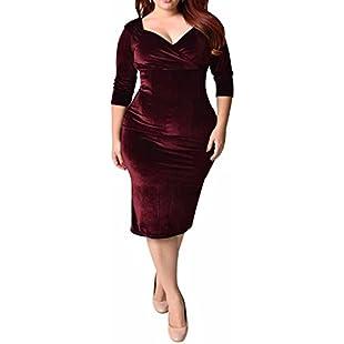 BIUBIU Women's 50s Plus Size Vintage Swing Dress Bridesmaid Cocktail Burgrundy Velvet UK 20