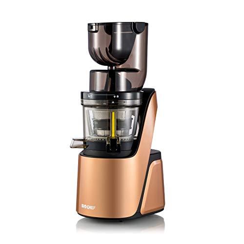 BioChef Quantum Slow Juicer - Entsafter mit bärenstarkem 400 W Motor, großem Einfüllschacht (8*8cm) & viel Zubehör (Bronze)