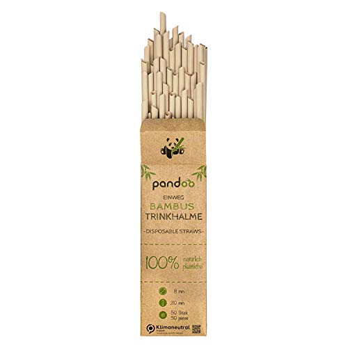 pandoo 50 Plastikfreie Einweg-Strohhalme Bambus und Pflanzenfaser | biologisch abbaubare Trinkhalme | Super Alternative zu Plastik Strohhalmen