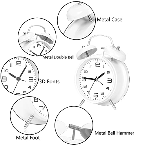 ACIYHN 4 inches Twin Bell Loud Alarm Clock for Heavy Sleeper,3D Number Display, Non Ticking,Battery Alarm Clock with Backlight(White)