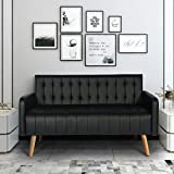 52-inch Loveseat Sofa, Small Modern Striped Couch, Love Seats Two-Seater Sofa, Small Space Configuration Black