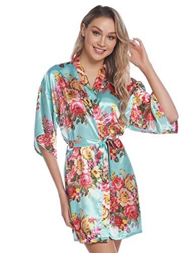 Aiboria Kimono Mujer Satén Albornoz Pajames Corta Bata Albornoz Floral para Novia Damas de Honor Ropa de Noche