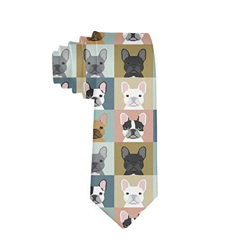 Men Necktie Ties, Gentlemen Tie Necktie, Fashion Skinny Necktie Ties, Casual And Formal Ties for Wedding, Business, party, Novelty Thin Ties -French Bulldog Dog Checkered Necktie