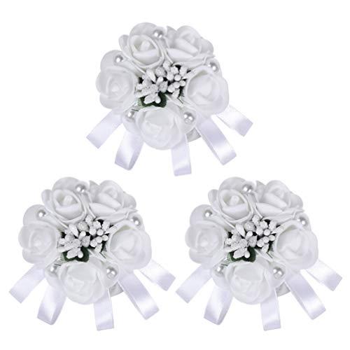 Amosfun 3 pezzi da sposa fiore polso fiore artificiale perla perla boutonniere bouquet bustino per matrimonio festa di ballo