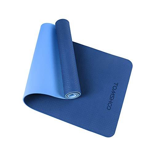 TOMSHOO Juego de Colchoneta Yoga, Esterilla Yoga Antideslizante de TPE 6mm/ 2 Bandas Resistencia Fitness/ 2 Bandas Elásticas Glúteos/Correa Yoga Algodón y Bolsa de Malla