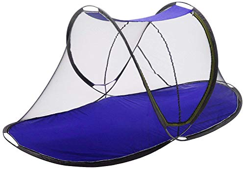 AmazingHind Foldable Mosquito Net for Single Size Bed with Polyester Base Cloth (Color - Multi Color)