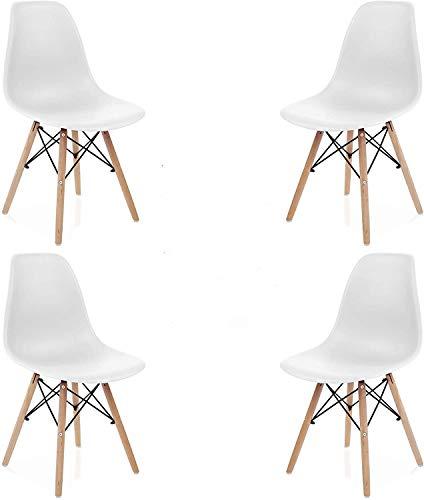 INJOY LIFE Esszimmerstühle Mid Century Modern Stuhl Retro Stil Kunststoff Stühle Seitenstühle für Küche Wohnzimmer Esszimmer Set von 4 weiß
