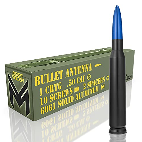 Mega Racer Black with Blue Tip 50 Cal Bullet Style Antenna for Trucks, Cars & SUVs - 5.5 Inch Universal Fit, AM FM Radio, 6061 Solid Aluminum, Anti-Theft Design, Car Wash Safe, Antenna Replacement 1pc