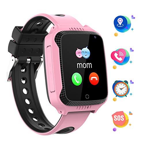 GPS localizador Reloj Inteligente para Niños Telefono, Tracker Podómetro Anti-pérdida para Chico Chica, Perímetro de Seguridad Cámera SOS Linterna Juegos Digitales Regalo de 3 a 13 años, GM11 Rosa