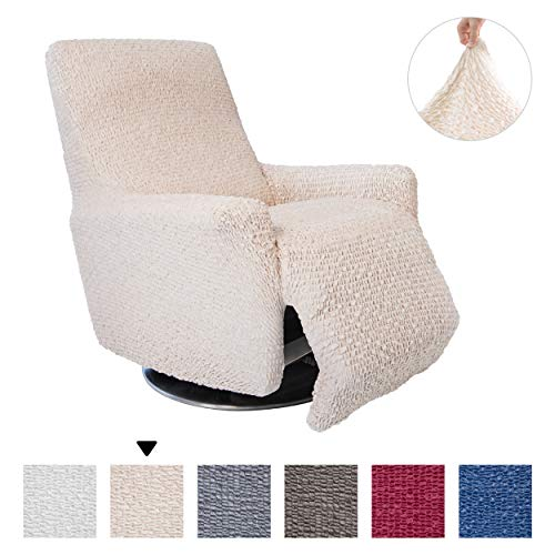 Recliner Cover - Recliner Chair Cover - Recliner Slipcover - Soft Polyester Fabric Slipcover - 1-piece Form Fit Stretch Stylish Furniture Protector - Velvet Collection - Vanilla (Recliner)