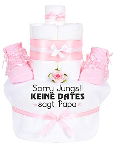 Trend Mama Windeltorte Mädchen -Babysocken + Lätzchen handbedruckt mit coolem Spruch -Sorry Jungs!! Keine Dates sagt Papa-hochwertig verpackt im Geschenkkarton