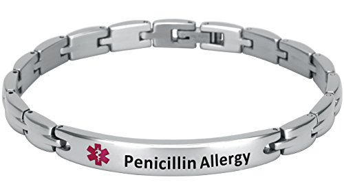 Elegant Surgical Grade Steel Medical Alert ID Bracelet for Men and Women (Women's, Penicillin Allergy)