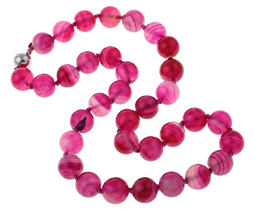 TreasureBay 12mm Natural Gemstone Beaded Necklace For Women (Pink Agate)