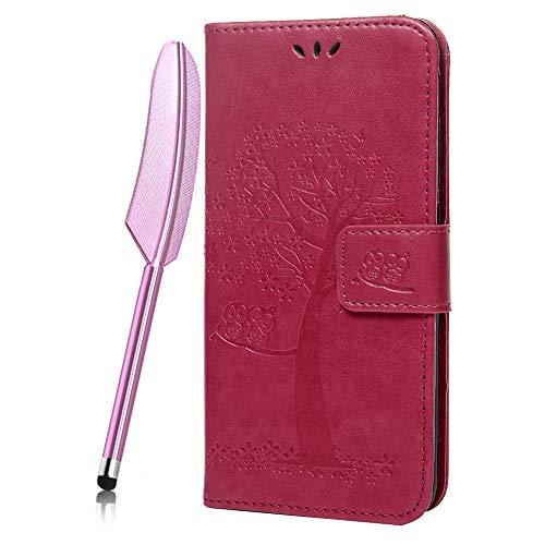 Cáscara Xiaomi Redmi Note 6 Pro, Redmi Note 6 Funda Ultra Delgada Piel Libro Suave Flip Cover PU Sintético Cuero Protector Caso Cierre Magnétic Flor Gofrado Billetera 360 Grados Paquete, Rosa roja