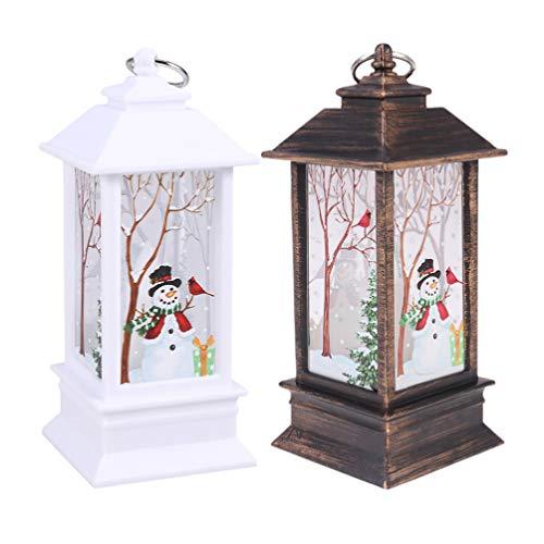 Lot de 2 lanternes de Noël à LED pour décoration de chambre à coucher