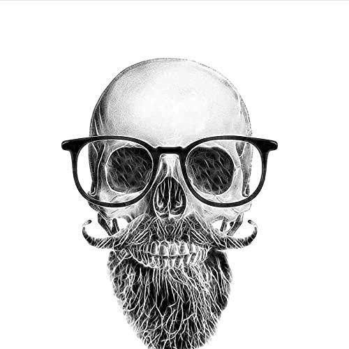 WYZDGTD Pegatina De Coche Divertida Pegatina De Coche Calavera Bigote Barba Gafas Calcomanía Accesorios De Coche 2 Uds 11.4 Cm X 15.6 Cm