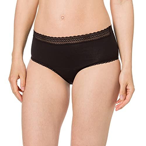 Schiesser Damen 2er Pack Menstruationswäsche/ Periodenslip Komfortschnitt auslaufsicher - Secret Care, schwarz, 38/40