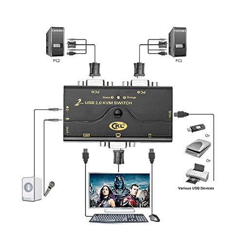 Commutateur KVM VGA 2 Ports + Kits de câble + Concentrateur USB 2.0 prise en charge du microphone audio 2048 * 1536, 2 Ordinateurs Partageant le Moniteur PC Clavier Souris Imprimante Scanner U Disque