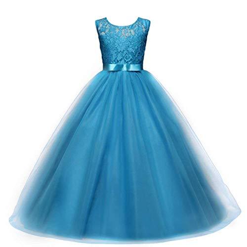 Flickor balklänning klänning bröllop prinsessa brudtärna fest bal födelsedag för barn 5-13 år, BLÅ, 5-6 År