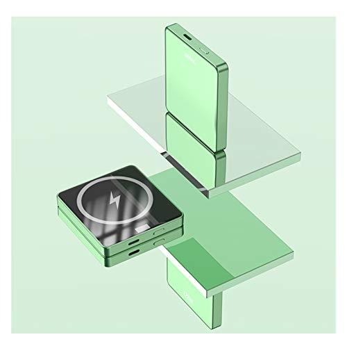 XIBEI Portátil Magnético Wireless Power Bank Mobile Power 10000mAh, mag-Safe Carga INALÁMBRICO Potencia 15 W, Adecuado para iPhone 12/12 Mini/Pro/MAX (Color : Green)