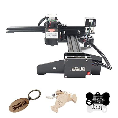 WAINLUX Máquina de grabado, grabador láser portátil, control de aplicación WiFi, protección ocular, grabado, corte, grabado, marcado láser de bricolaje preciso para metal plateado, madera (20W