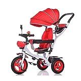 ZHENAI 3 EN 1 Triciclo para Niños + 9 Meses Triciclo con Pedales con Capota Extraíble Plegable Barra Telescópica para Padres Triciclo De Empuje, Peso Soportable hasta 25 Kg