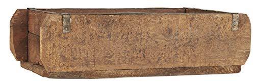 mucHome Ziegelform im Shabby Style ca. 32x15x9,5cm Pflanzenkasten Vintage-Look Holzkiste Box mit Metallbeschlägen braun Pflanzenbox Unikat Aufbewahrungskiste