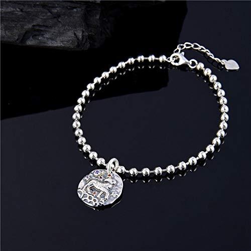 Sterling zilveren Armband Dames, Glamour Lady 925 Sterling zilveren Retro Armband Mode Constellatie Hanger Persoonlijkheid Zilver Armband Eenvoudige Ram Casual Outdoor Comfortabele Kerst Engagement