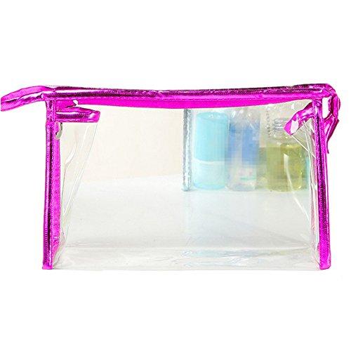 Kentop Sac de Stockage de PVC de Grande capacité cosmétique Transparent de Voyage Conteneur 22.5 * 14 * 7CM Rose, Rouge