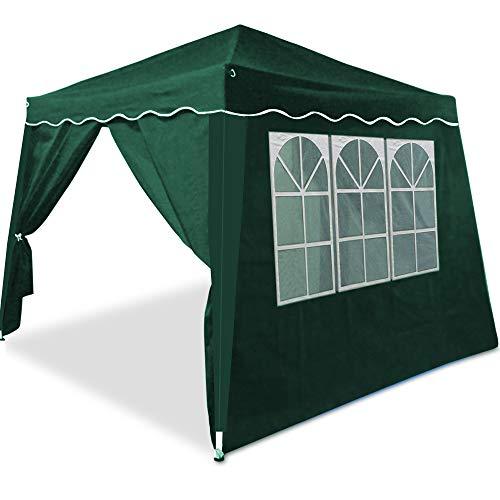 Deuba Tonnelle pavillon de Jardin Pliable 3x3m - 2 parois latérales avec fenêtres Vert