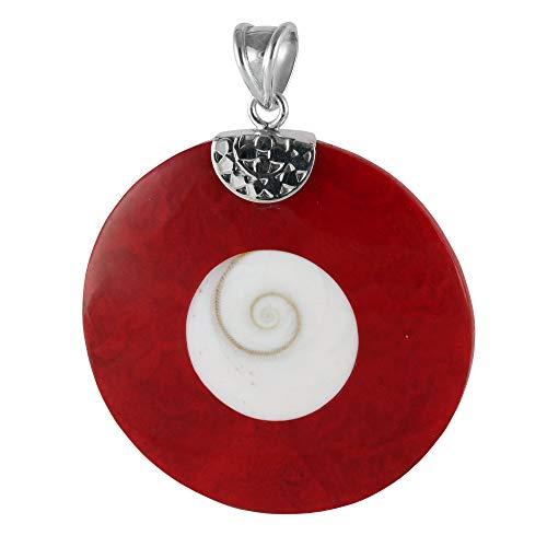 ISLAND PIERCINGS Edler 925er Silber und Rote Koralle Shiva Muschel Anhänger Kettenanhänger PS361