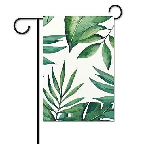 Drapeau de bienvenue sans marque - Décoration d'extérieur - Feuilles vertes tropicales - Printemps/été