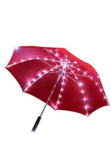 grau.zone Led Regenschirm Sternenhimmel Rot mit eingearbeiteter Taschenlampe