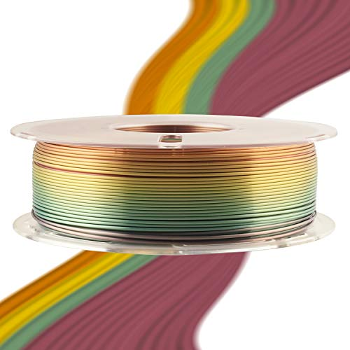 Silk Shiny Fast Color Gradient Change Rainbow Multicolored 3D Printer PLA Filament - 1.75mm 3D Printing Material 1kg 2.2lbs Spool, Widely Compatible for FDM 3D Printer with One Bottle Tool by TTYT3D