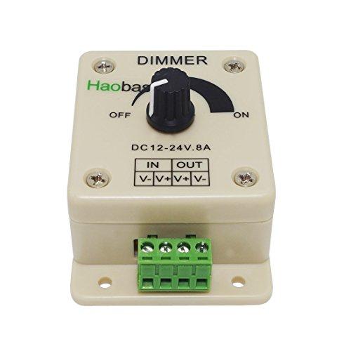 Haobase PWM Dimming controller per luci a LED, Ribbon, Strip, 12 - 24 Volt (12V - 24V) 8 Amp, interruttori elettrici Dimmer per la casa, Commerciale, Industriale e ufficio