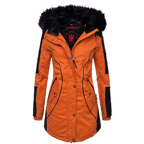 Marikoo Designer Damen Winter Parka warme Winterjacke Mantel Jacke B372 [B372-Larissa-Orange-Gr.XS]