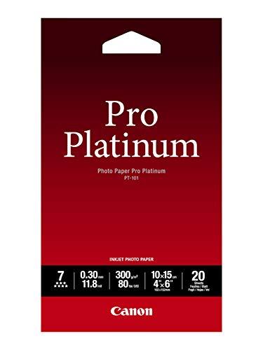 Canon PT 101 Pro Platinum Fotopapier 10 x 15 cm 20 Blatt 300 gqm fur Tintenstrahldrucker