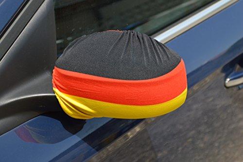 tsnetworks Aussenspiegelüberzug Spiegelüberzug Deutschland Spiegelfahne Aussenspiegelfahne Überzug 2er Set (Links + rechts) - Auto Spiegel Fahne Flagge