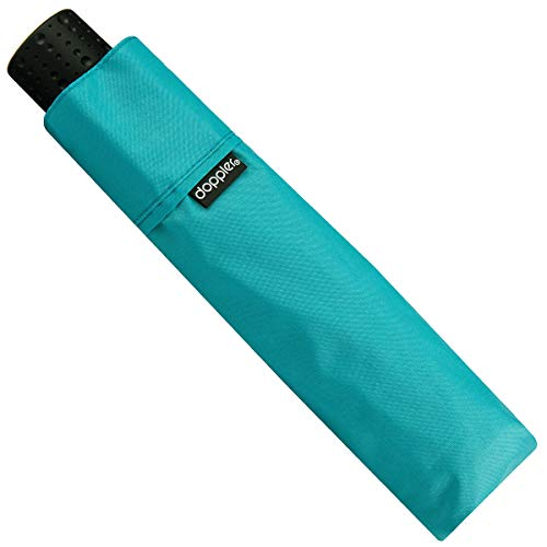 Doppler Fiber Havanna Ultra Light Taschenschirm sehr leichter Regenschirm 140 g 722363, Farbe:Aqua
