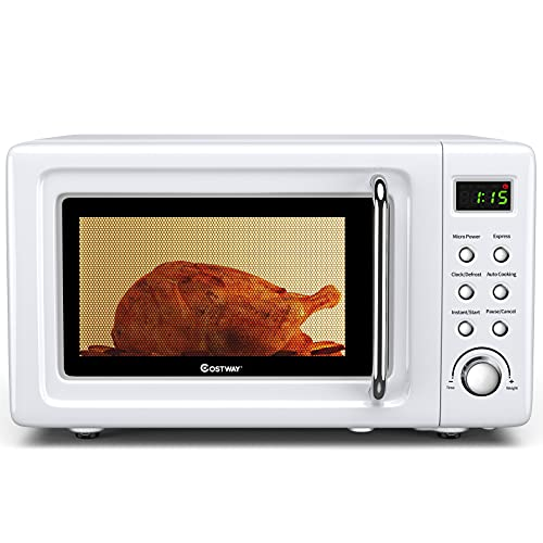 COSTWAY Retro Countertop Microwave Oven, 0.7Cu.ft, 700-Watt, High Energy Efficiency, 5 Micro Power, Delayed Start Function, with Glass Turntable & Viewing Window, LED Display, Child Lock (White)