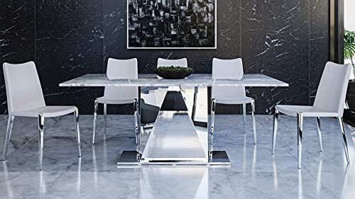 Zuri Furniture Modern Bianco 71 Inch Dining Table with White Carrara Marble Top