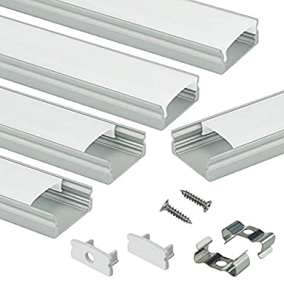 Muzata LED Channel System with Milky White Cover Lens,Silvery Aluminum Extrusion Profile Housing Diffuser Track for Strip Light with Video Guide 5PACK 1M/3.3FT U Shape U1SW