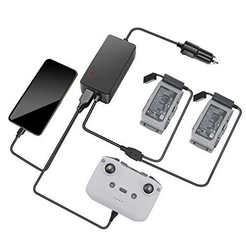 CUEYU Autoladegerät für DJI Mavic Air 2 Drone Akku und Fernbedienung, KFZ Batterie Ladegerät für DJI Mavic Air 2 Drone, Laden Sie 2 Akku und Fernbedienung