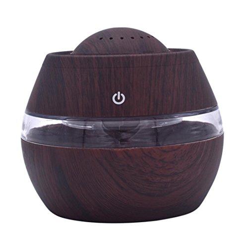 ASHOP Aroma Diffuser 300ml Luftbefeuchter Öl Ultraschall Düfte Humidifier Holzmaserung LED mit 7 Farben für frische Luft, Heim Dekoration, beste Geschenke für trockene Haut, Insomnie (Braun)
